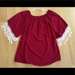 Tops - Red top with crochet trimmed sleeves